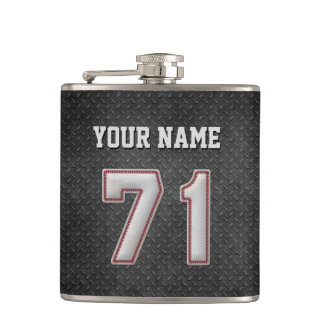 Number 71 Baseball Stitches with Black Metal Look Flask