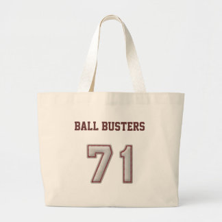 Number 71 with Cool Baseball Stitches Look Large Tote Bag