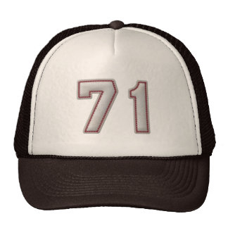 Number 71 with Cool Baseball Stitches Look Trucker Hat