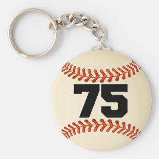 Number 75 Baseball Basic Round Button Keychain