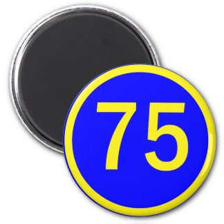 number, 75,  in a circle magnet