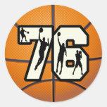Number 76 Basketball Round Sticker