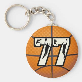 Number 77 Basketball Basic Round Button Keychain
