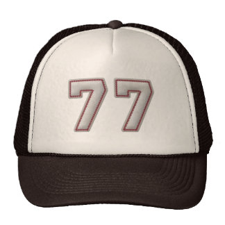 Number 77 with Cool Baseball Stitches Look Trucker Hat