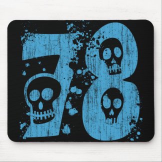 NUMBER 78 WITH SKULLS - DISTRESSED MOUSE PAD