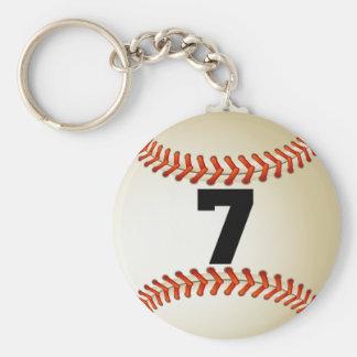 Number 7 Baseball Basic Round Button Keychain