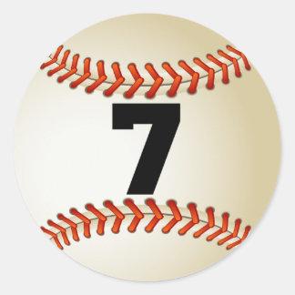 Number 7 Baseball Classic Round Sticker