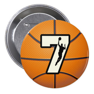 Number 7 Basketball and Player 3 Inch Round Button