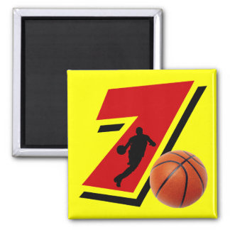 Number 7 Basketball and Player Magnet