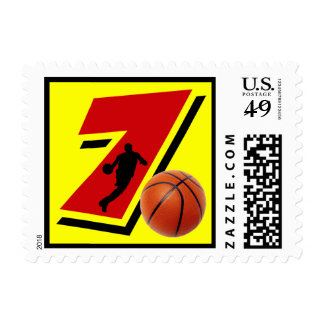 Number 7 Basketball and Player Postage
