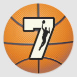Number 7 Basketball and Player Round Stickers