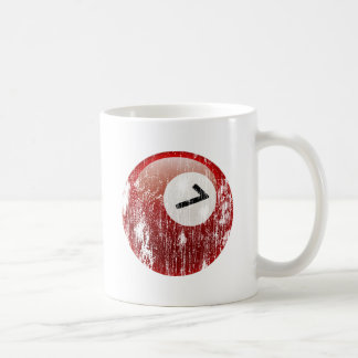 NUMBER 7 BILLIARDS BALL - ERODED AND AGED CLASSIC WHITE COFFEE MUG