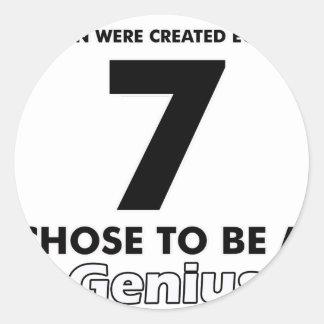 Number 7 designs classic round sticker