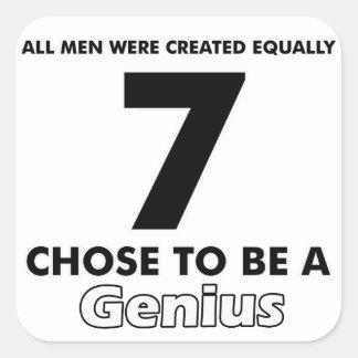 Number 7 designs square sticker