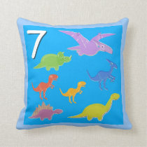 Number 7 Dinosaurs Numbers 1 - 10 Counting Throw Pillow