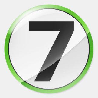 Number 7 green classic round sticker