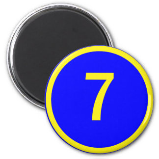 number 7 in a circle 2 inch round magnet