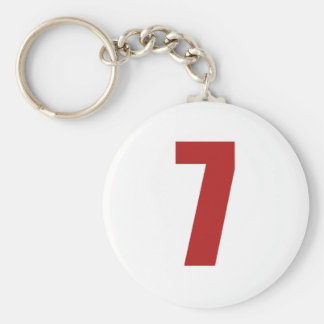 Number 7  in red on white button keychain