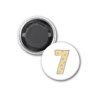Number 7 magnet with gold and purple