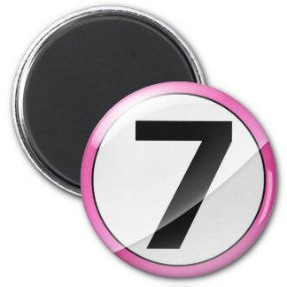 Number 7 pink Magent Magnet
