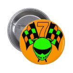 NUMBER 7 RACING DESIGN 2 INCH ROUND BUTTON