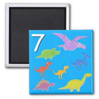 Number 7 Seven Dinosaurs Counting Magnet