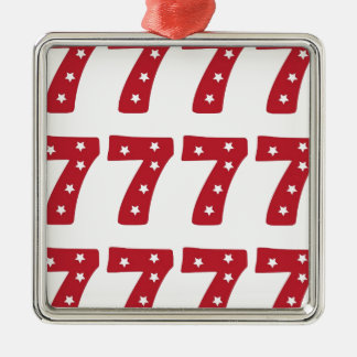 Number 7 - White Stars on Dark Red Christmas Ornaments