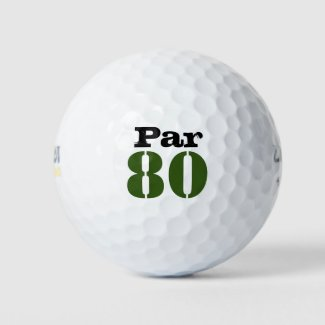 Number 80 par golf course for 80th birthday golfer golf balls