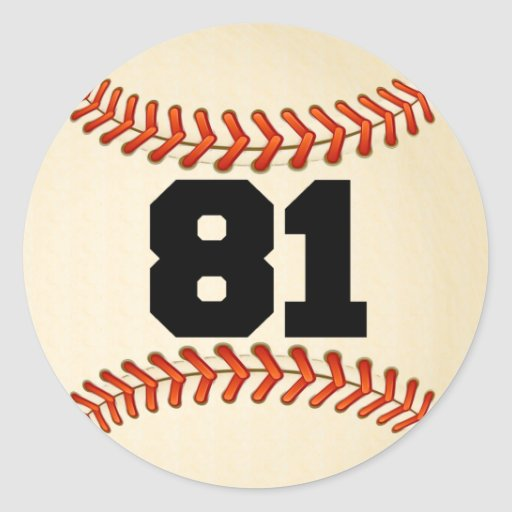 Number 81 Baseball Classic Round Sticker Zazzle