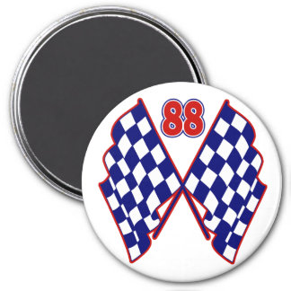 Number 88 and Checkered Flags Fridge Magnets