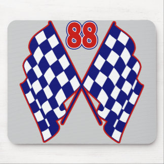 Number 88 and Checkered Flags Mouse Pad