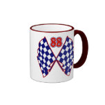 Number 88 and Checkered Flags Ringer Coffee Mug