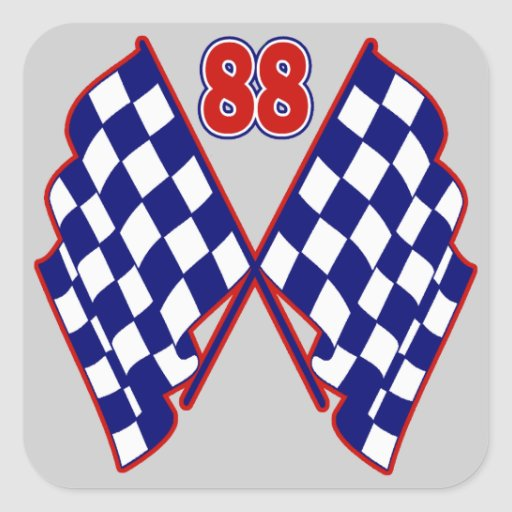 Number 88 And Checkered Flags Stickers