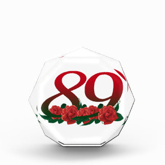 number 89 / 89th birthday red flowers floral acrylic award