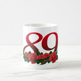 number 89 / 89th birthday red flowers floral coffee mug