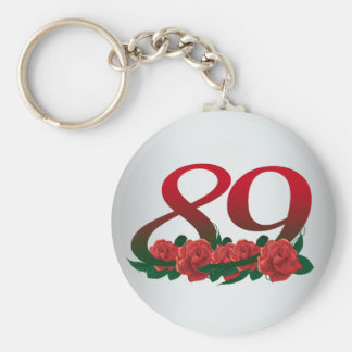 number 89 / 89th birthday red flowers floral keychain