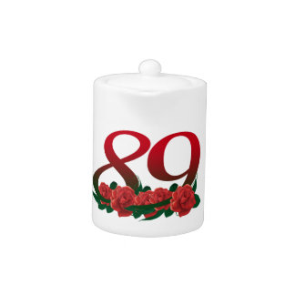 number 89 / 89th birthday red flowers floral teapot