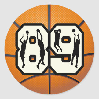 Number 89 Basketball Classic Round Sticker