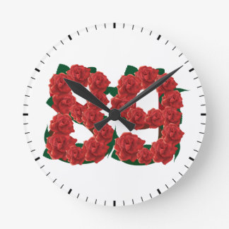 Number 89 or 89th birthday flower round clock