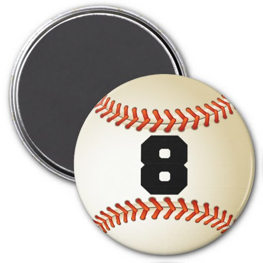 Number 8 Baseball 3 Inch Round Magnet