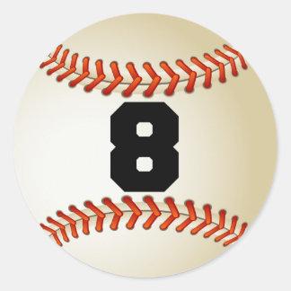 Number 8 Baseball Classic Round Sticker