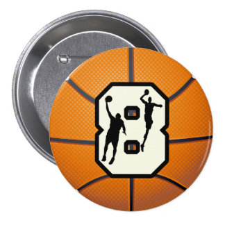 Number 8 Basketball and Players 3 Inch Round Button