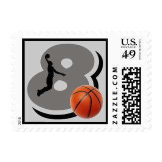 Number 8 Basketball Player Postage Stamp