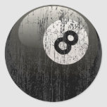 NUMBER 8 BILLIARDS BALL - ERODED AND AGED CLASSIC ROUND STICKER