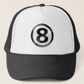 Number 8 black trucker hat