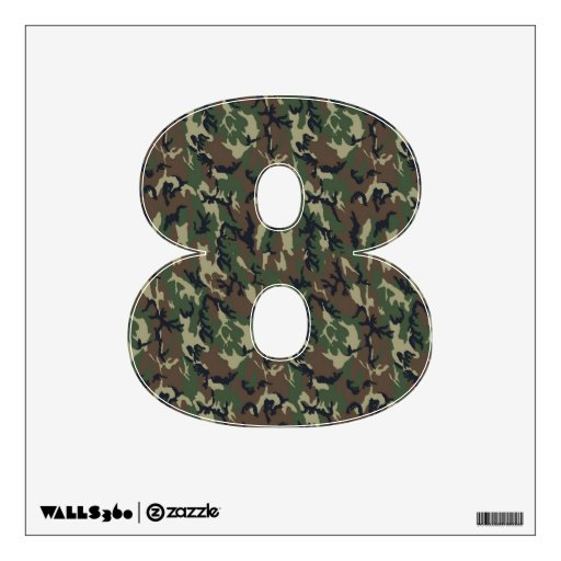 Number 8 decals woodland military camouflage wall for Camo mural wall