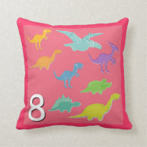 Number 8 Dinosaurs Numbers 1 - 10 Count Throw Pillow