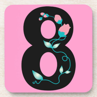 Number_8_Girly NUMBER 8 GIRLY GRAPHICS Beverage Coaster