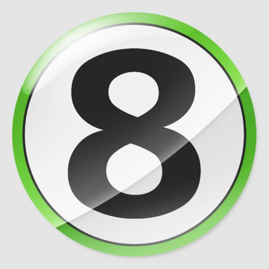 Number 8 green sticker