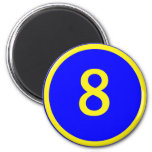 number 8 in a circle 2 inch round magnet